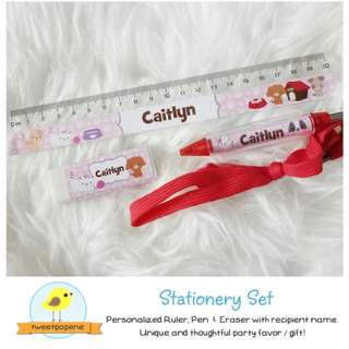 Personalized Stationery Set with Name (Ruler Eraser Pen)