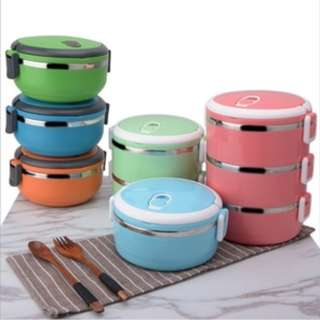 Rantang 2 susun Lunch box eco stainless steel kotak bekal makan HPD098