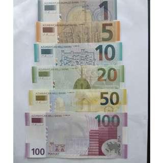Azerbaijan unc banknotes