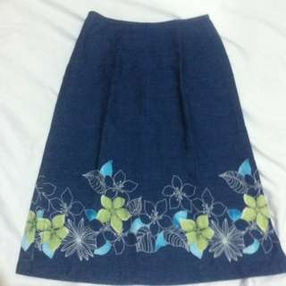 Chambray Hand-painted Skirt
