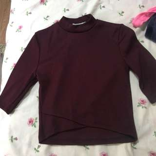 Mock Neck Maroon Top
