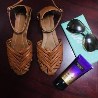 Brown flat sandals