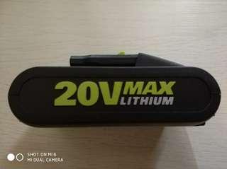 Worx 香港通用美版20v 全新香港通用版鋰電池(帶顯示)