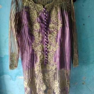 Kebaya ungu gold fit to xl freeong jabodetabek
