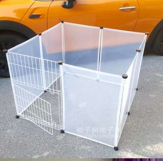 Transparent pet fence with metal door