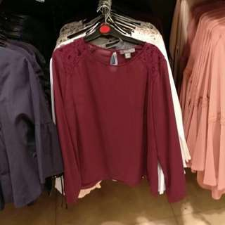 Primark Lace Detailed Blouse in Maroon (Plus Size)