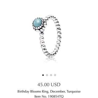 Pandora Birthday Blooms Ring, December, Turquoise