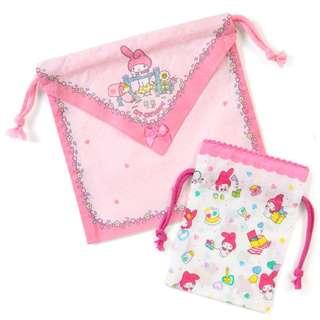 Japan Sanrio My Melody Handkerchief type Drawstring Set