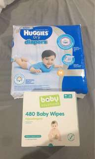 72 Medium Nappies + 480 Baby Wipes