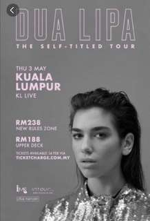 IM LOOKING! FOR 2 DUA LIPA NEW RULES ZONE TICKETS!!! Please be reasonable for the price tho!