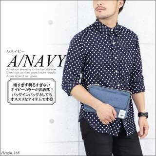 日本樂天 Fine Product 深藍色 多功能摺疊型 Iphone 手機 小斜咩袋
