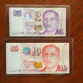 Sg 0ZZ $2 $10 Identical number set - Replacement/Commerative