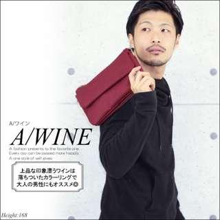日本樂天 Fine Product 酒紅色 多功能摺疊型 Iphone 手機 小斜咩袋