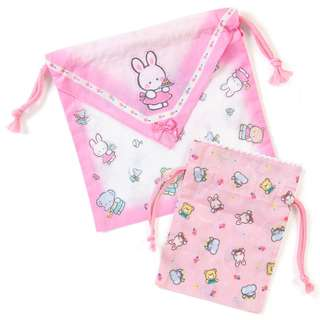 Japan Sanrio Cheery Chums Handkerchief type Drawstring Set