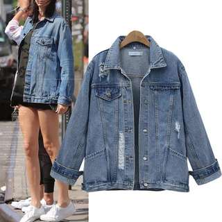 (XL~4XL) European station women's 2018 spring and autumn new fashion long-sleeved lapel short denim jacket