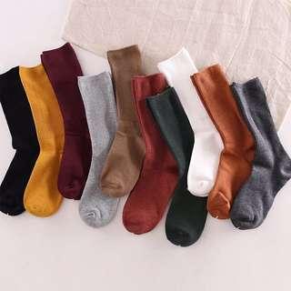 現貨 細條紋 襪子 女中筒襪 可愛堆堆襪 韓國學院風日系復古純棉韓版襪子秋冬長襪