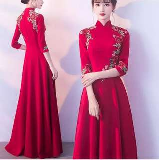 (plus size available)Red qipao Cheongsam design dress / evening gown
