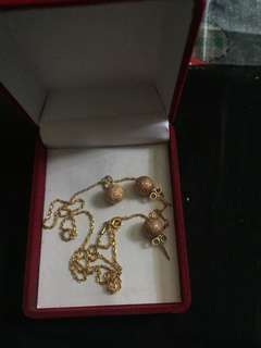 18K set of necklace and earing