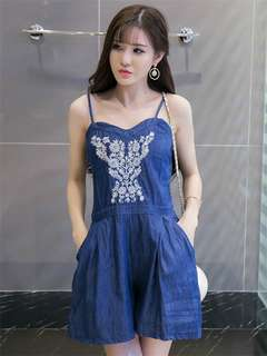 AO/XKC072418 - All Match Fashion Embroidered Straps Denim Jumpsuit