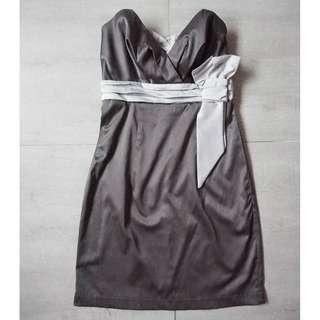 MODISTE Strapless Grey/Silver Cocktail Dress