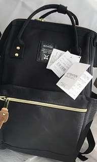 (📣秒殺2件) 日本 Anello 大容量 金屬蓋拉鏈帆布背包 手提包 (大) #Black 黑