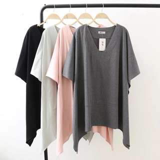 Plus Size Summer loose casual loose-sleeved bat sleeves T-shirt sleeveless