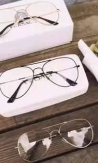 Clear retro Korean glasses in silver frame