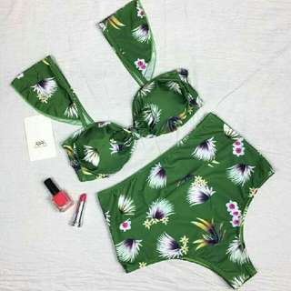 Green Floral High Waist Bikini Set
