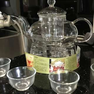 Flower Tea Glass Teapot Set