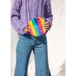 🚚 【黑店】原創設計 訂製款 早春新款復古彩虹條紋毛茸茸小包包 小圓包隨身包