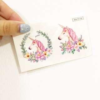 Watercolor temporary tattoo Unicorn