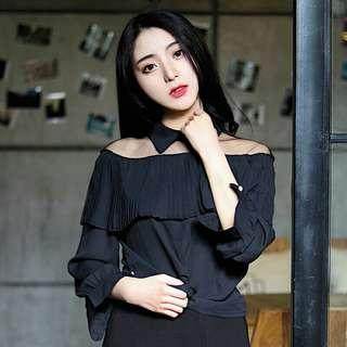 Black Sexy Blouse( Sheer blouse)