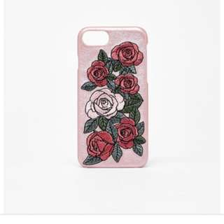 Repriced Bershka Emroidered Leather Rose Iphone Case