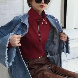 🚚 酒紅色chic風百搭圓環拉鍊高領顯瘦螺紋長袖打底衫T恤女