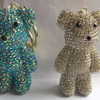 Bag charms or key chains- Teddy bear in diamonds