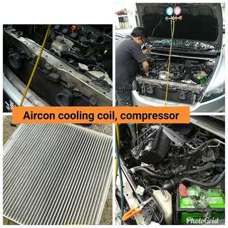 Aircon cooling coil, aircon compressor