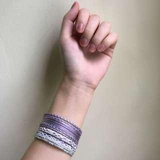 Gelang India silver ungu muda