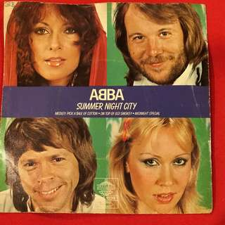 ABBA Summer Night City 45 rpm Vintage Made in Sweden