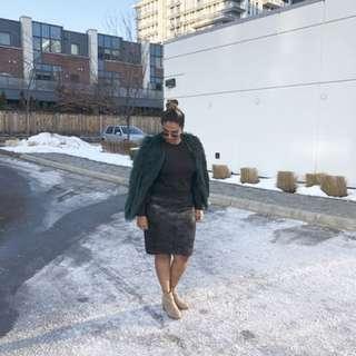 Teal fur jacket