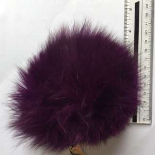 Bag Charm real fur ball - purple