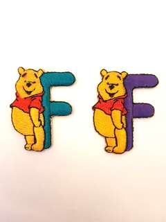 "Iron On Patch/ Applique ↪ Alphabet Pooh ""F"" 💱 $2.00 Each Alphabet"