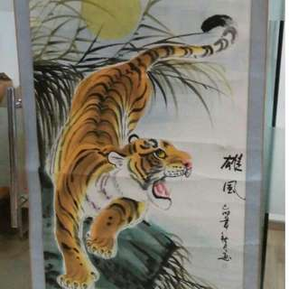 Beautiful Chinese Painting Scrolls Flower Tiger