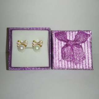 蝴蝶結貝殼珍珠耳夾式耳環