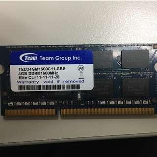 十銓TEAM 4GB DDR3-1600