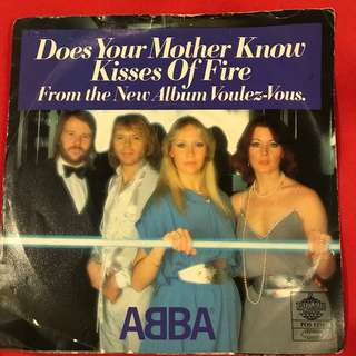 ABBA Does Your Mother Know/ Kisses of Fire vintage 45 rpm Made in Sweden