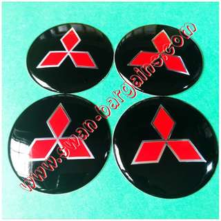 4x 65mm Universal Black Red Mitsubishi Logo Sports Rim Wheel Hub Center Cap Cover Decal Trim Set