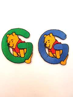 "Iron On Patch/ Applique ↪ Alphabet Pooh ""G"" 💱 $2.00 Each Alphabet"