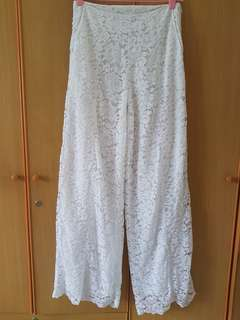 White Lace Flared Pants
