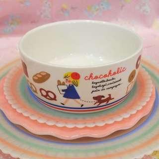 日本swimmer chocoholic白色女孩麵包陶瓷碗