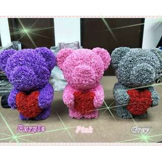 Romantic handcraft Gift Teddy Bear Rubber Flower 3 Colour ( Ready Stock)